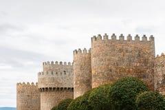 阿维拉古老中世纪墙壁在西班牙 图库摄影