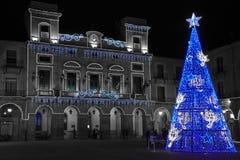 阿维拉在晚上,圣诞节 库存图片