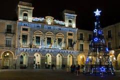阿维拉在晚上,圣诞节 免版税库存照片