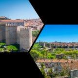 阿维拉,西班牙中世纪城市墙壁拼贴画  库存图片