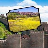 阿维拉,西班牙中世纪城市墙壁拼贴画  免版税图库摄影