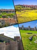 阿维拉,西班牙中世纪城市墙壁拼贴画  图库摄影