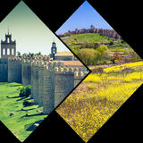 阿维拉,西班牙中世纪城市墙壁拼贴画  免版税库存图片
