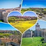 阿维拉,西班牙中世纪城市墙壁拼贴画  免版税库存照片