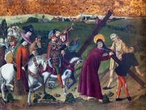 阿维拉,西班牙, 2016年4月- 18日:耶稣发怒方式的哥特式油漆在Catedral de从15的克里斯多萨尔瓦多 分 免版税库存图片