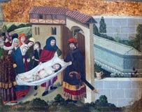 阿维拉,西班牙, 2016年4月- 18日:耶稣埋葬哥特式油漆在Catedral de从15的克里斯多萨尔瓦多 分 免版税图库摄影