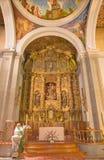 阿维拉,西班牙, 2016年4月- 19日:巴洛克式的主要法坛在教会从18的Convento圣安东尼奥里 分 免版税库存照片