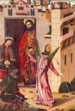 阿维拉,西班牙, 2016年:圣伯多禄的解放从监狱绘画的在Catedral de克里斯多萨尔瓦多圣器收藏室  免版税库存照片