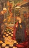 阿维拉,西班牙, 2016年:圣洁家庭绘画加西亚del Barco & x28; 1496& x29;在Catedral de克里斯多萨尔瓦多 图库摄影