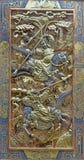 阿维拉,西班牙, 2016年:在真正的monasterio de Santo Tomas教会的汇集的多彩中国reliefi  免版税图库摄影