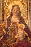 阿维拉,西班牙, 2016年:王位的玛丹娜加西亚del Barco & x28; 1496& x29;在Catedral de克里斯多萨尔瓦多 免版税库存图片