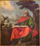 阿维拉,西班牙:圣约翰视觉油漆在拔摩岛(默示录)海岛上的Evangelis大教堂的de钦琼特佩克火山 库存图片
