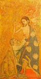 阿维拉,西班牙:La duda de Santo Tomas -圣托马斯绘画疑义在木头的在Catedral de克里斯多萨尔瓦多 免版税库存图片