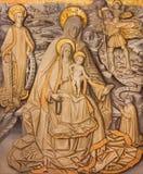 阿维拉,西班牙:Sain安,玛丹娜,圣克里斯托弗和st Catharine绘画有孩子的在Catedral de克里斯多萨尔瓦多 免版税库存照片