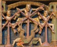 阿维拉-安心martyrium细节在罗马式多彩葬礼纪念品的在教会大教堂de钦琼特佩克火山12 分 库存图片