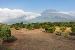 阿贡火山,巴厘岛看法  库存图片