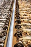 附加的螺栓铁路轨道 免版税库存照片