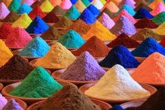 附加芳香烹调烘干了要素食品成分多种自然选择香料 多彩多姿的粉末染料在市场上 免版税库存图片