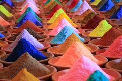附加芳香烹调烘干了要素食品成分多种自然选择香料 多彩多姿的粉末染料在市场上 库存图片