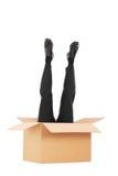黏附在箱子外面的男性腿垂直的射击  免版税库存照片