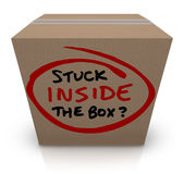 黏附在箱子陈旧的非原先的想法里面同样官僚 免版税库存照片