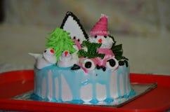 附带圣诞节蛋糕的生日 免版税库存照片