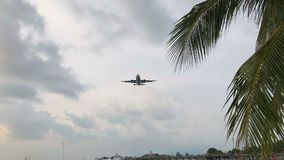 附近平面飞行关闭天花板和着陆在苏梅岛海岛,泰国 股票录像
