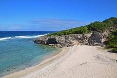 附近海滩著名Trou dArgent在罗得里格斯岛 库存照片