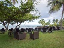 洲际的手段和温泉旅馆在帕皮提,塔希提岛,法属玻里尼西亚 图库摄影