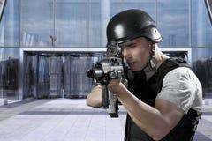 陆军大厦防御人员 免版税图库摄影
