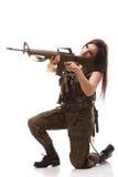 陆军枪塑料步枪妇女 免版税库存图片