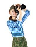 陆军照相机女孩年轻人 库存照片