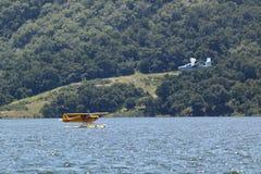 登陆在湖卡西塔斯, Ojai,加利福尼亚的两架两栖水上飞机 库存图片