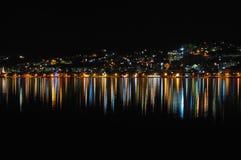 陆间海海岸的夜风景 库存图片