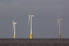 陆风农场 反对灰色天空的涡轮 免版税图库摄影