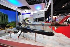 陈列它的防御和航空航天解答的Diehl在新加坡Airshow 库存照片