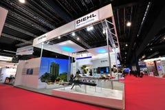 陈列它的防御和航空航天解答的Diehl在新加坡Airshow 免版税库存图片