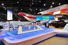 陈列它的货轮转换解答的ST航空航天在新加坡Airshow 图库摄影