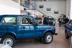 陈列室和汽车经销权工厂Avtovaz Gusar Lada  图库摄影