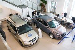 陈列室和汽车经销权工厂Avtovaz Gusar Lada  库存图片