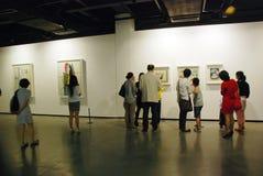 陈列帕布鲁棕色画家西班牙语绘画的12点活字 图库摄影