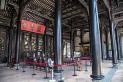 陈家祠,一个著名旅游胜地在广东,中国,是第二个大厅承重专栏结构  库存图片