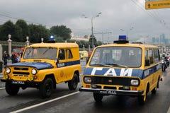 陈述交通安全检查汽车在城市运输第一次莫斯科游行  免版税库存图片