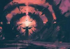 降一个咒语的一位老巫术师在wizarding的穴 免版税库存照片
