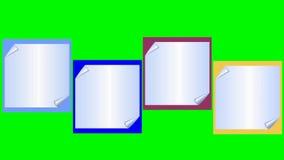 降低三录影与在五颜六色的背景,包括的绿色屏幕的弯的稠粘的便条纸 库存例证