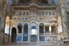 降低从Kayakoy, Fethiye的教会 库存图片