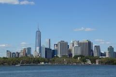 降低曼哈顿地平线全景 免版税库存照片