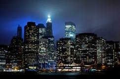 降低曼哈顿日落 库存照片