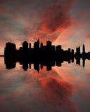 降低曼哈顿日落 库存图片