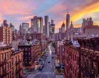 降低曼哈顿,唐人街,在黄昏的NYC 图库摄影